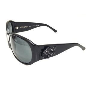 Versace Black Sunglasses with Flower Detail